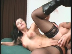MILF fucks with stockings and boots on