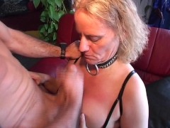 Leather bang leads to cum on boobs
