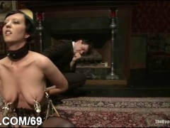 Busty barmaid bound and double penetrated