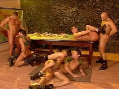 Muscled gay group sex