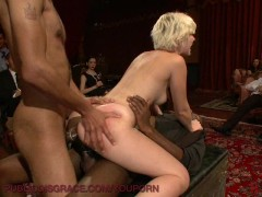Dinner guests serviced by hot blonde.