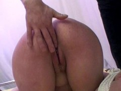 Tied up girl gets rough fucking