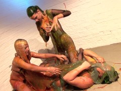 Three girls covered in messy slime
