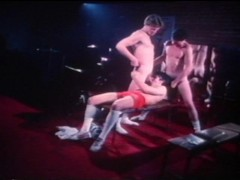 Vintage gay scene with bodybuilders