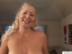 Big tit milf works her pussy with a p...