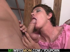 He cums on mother in law and his wife comes in