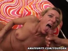 Mature amateur wife sucks and fucks a black cock