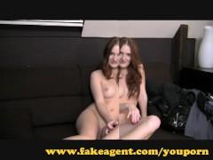 FakeAgent Auburn beauty gives amazing handjob