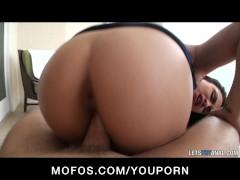 Big-tit brunette Latina girlfriend ass-fucked hard 1st time anal