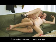 Young horny big-boob brunette girlfriend fucked hard by stranger