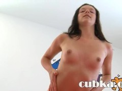 Huge red vibrator in russian pussy hole