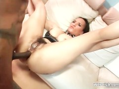Busty ebony riding a big black cock with her greedy ass
