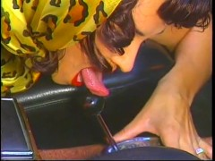 : Mad Men Pin Up Babe Rubs Her Pussy On A Convertible - Bizarre