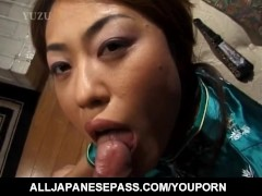 Mature honey Aya Kurosaki in a kimono paints her toe nails before sucking a cock