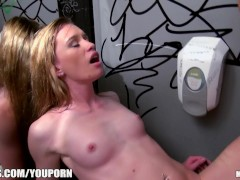 Three bi-curious sluts sneak into the men's bathroom for an orgy