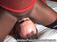 Big black dominant lady with wimpy white man