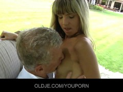 Young nasty blonde seduce an Old guy