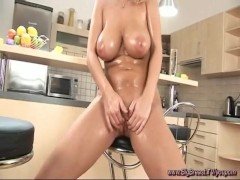 big oiled boobs alone at home