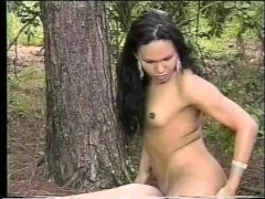 Busty shemale takes two stiff cocks - Gentlemens Video