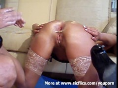 Double anal fisting the wifes slutty ...