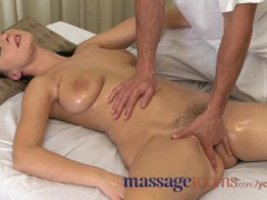 : Massage Rooms MILF hairy pussy gets stretched and creamed on by big dick