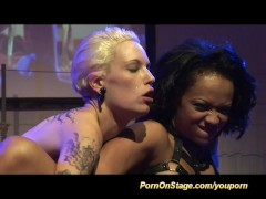 lesbian fisting on public show stage