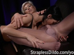 Strapon mistress in pantyhose fucks her doll