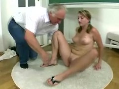 Blonde czech student passes exam being fucked by old teacher in the classroom
