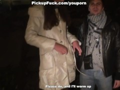 Pretty girl sucks two cocks for money right in the street