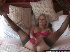 Sexy British pornstar Kaz B masturbates in her pussy and ass with her dildo