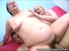 : Lucky Bastard Fucks Two Mature Honeys