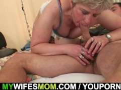 Horny granny seduces him but wife finds out!