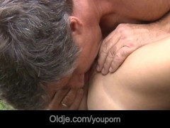 Older rod pumps Gina's young ass and mouth