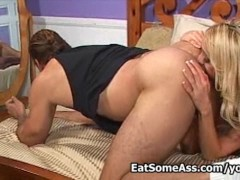 Blonde Ass Eater Kelly Wells sucks cock eats ass for cum in mouth