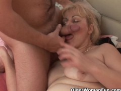 : Chubby grandmother gets cock up her ass