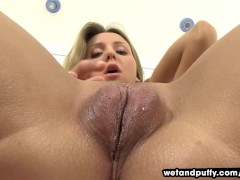 Wetandpuffy Blonde beauty sliding glass dildo in her shaven pussy