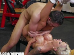 Nina Elle takes a big dick at the gym - Brazzers