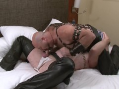 Bears in leather chaps - Factory Video