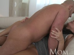 : MOM Sophisticated brunette with hairy pussy swallows a huge dick