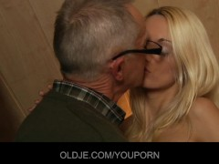 Horny Old bone sucked by top young blonde