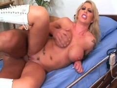 : Busty blonde nurse fucked in sexy knee high boots