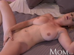 MOM Blonde bombshell teases to camera then has a explosive orgasm