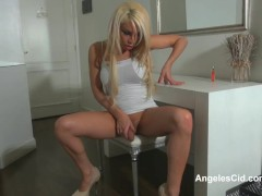 Angeles Cids white heels and Lingerie