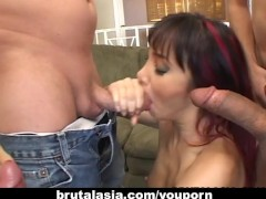 Kinky group sex with a sweet Asian chick