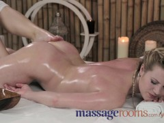 Massage Rooms Young innocent lesbian has her tight little flower penetrated
