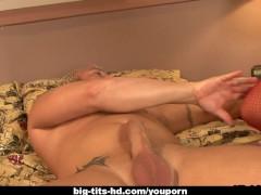 Tattooed slut with huge boobs rides a fat boner