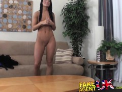 FakeAgentUK Midget cons sexy tanned amateur brunette into having sex
