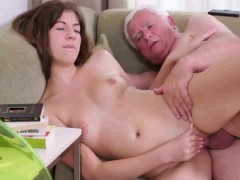 Teen girl and old grandpa