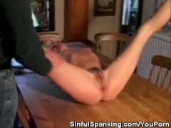 Paddle Spanking On The Table
