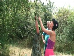 Nasty babe gets horny with mature couple